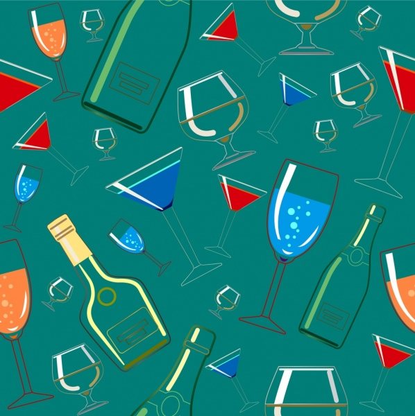wine bottles glass background repeating pattern