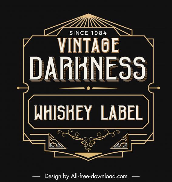 wine label decor element dark black retro