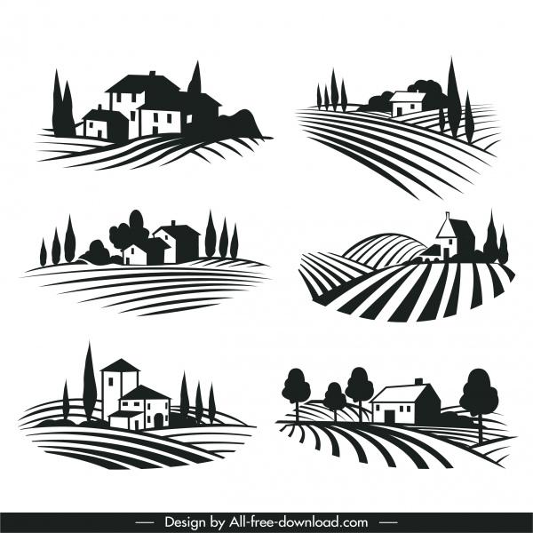wine label decor elements black white scenery sketch