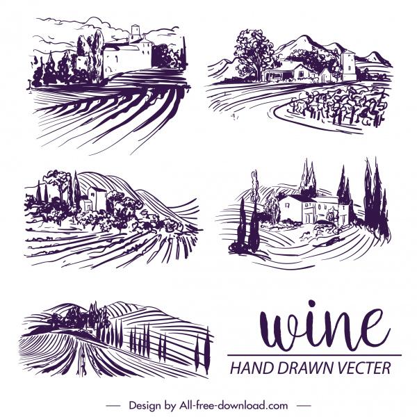 wine label decor elements vintage handdrawn countryside scene
