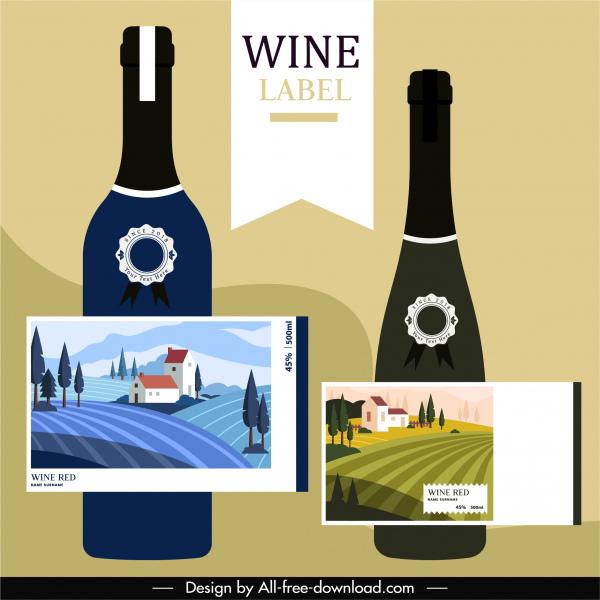 wine label templates elegant classical grape yard decor