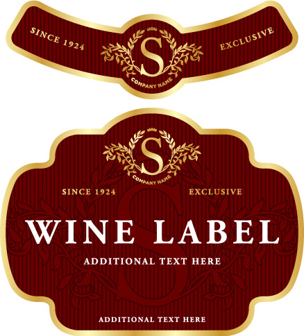 Wine label vintage design vector set Free vector in ...