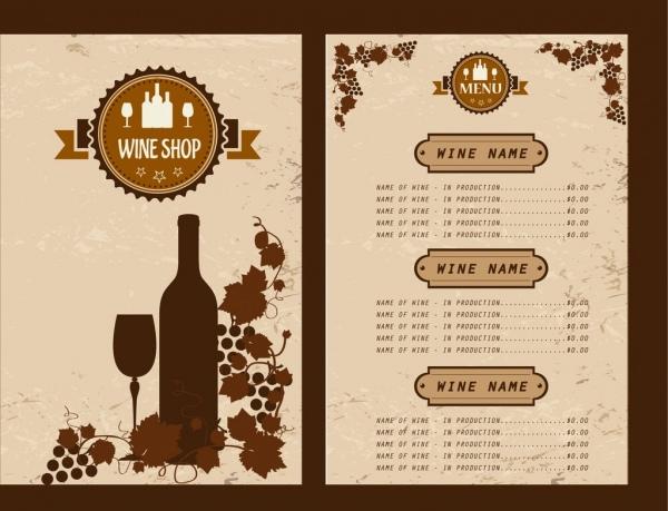 wine menu design grapes bottle glasses decoration