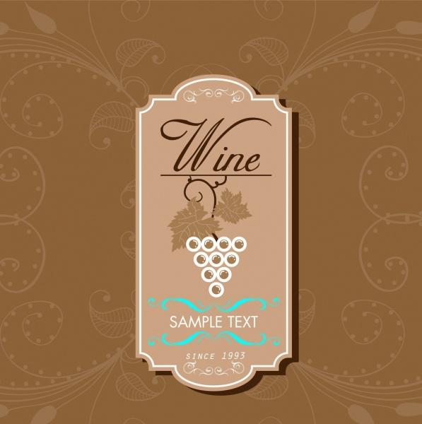 wine tag design brown vertical retro style