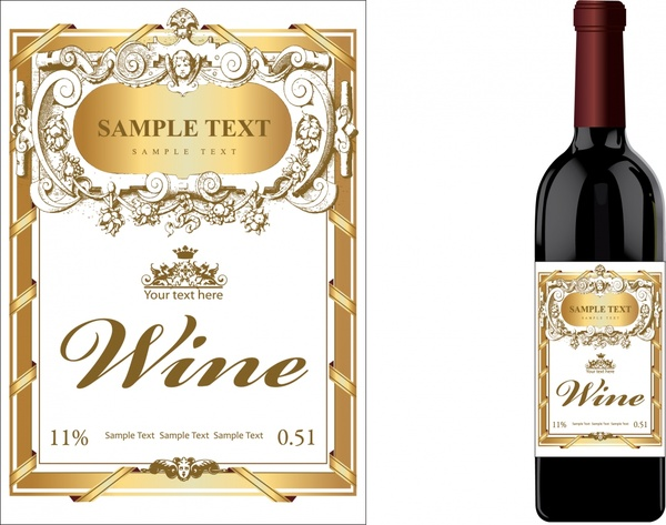 picture about Free Printable Wine Labels named Wine label template luxurious golden clical decor Free of charge
