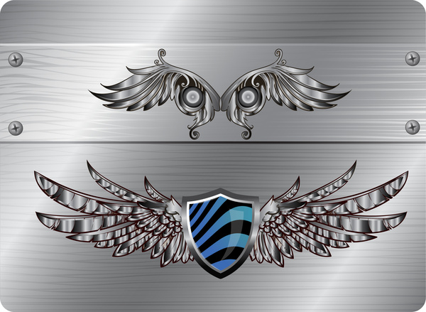 wing and shield vintage design element