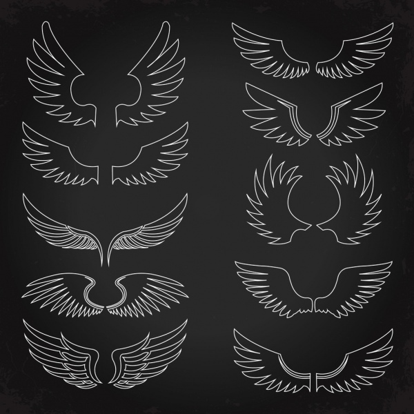 wings icons collection silhouette flat sketch