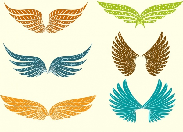 wings icons collection various bright colored decoration