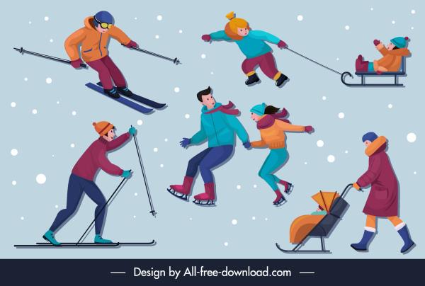 winter activities icons cartoon characters sketch