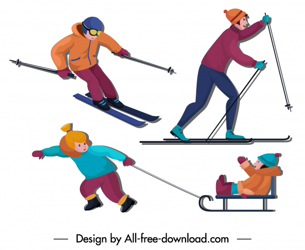 winter activities icons joyful people sketch cartoon characters