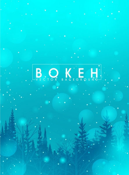 winter background blue fir trees icons bokeh decor
