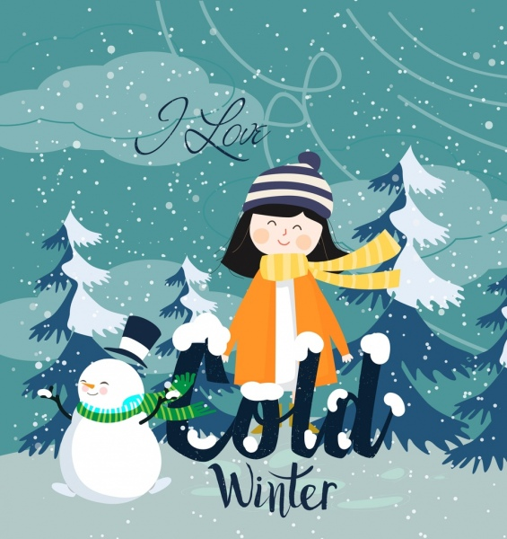 winter background cute girl snowman falling snow icons