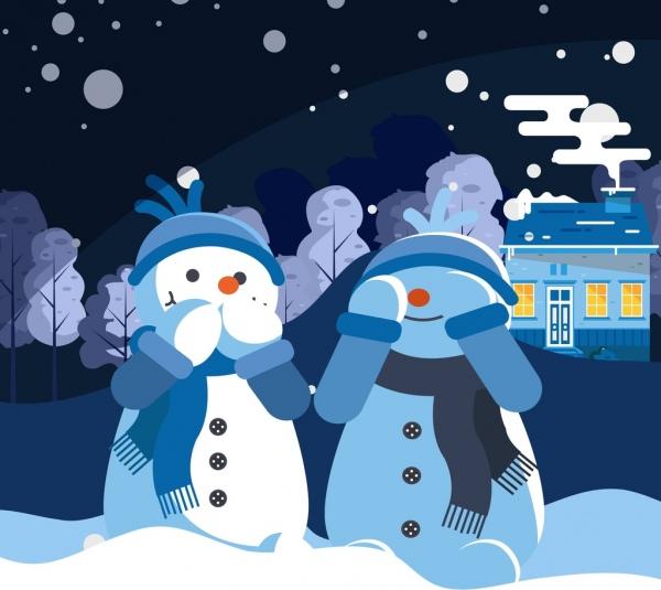 winter background cute stylized snowman icons cartoon design