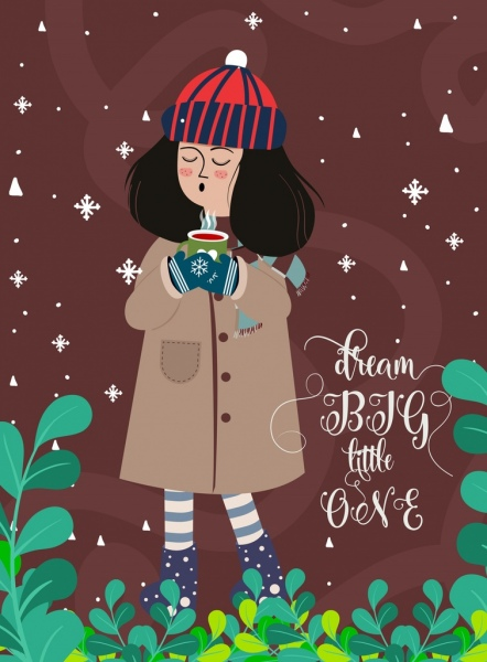 winter background girl warm coat snowy leaves decoration