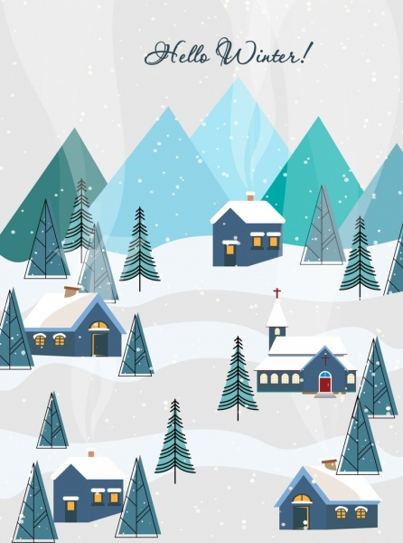 winter background houses tree falling snow icons
