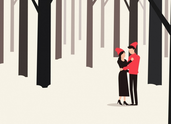 winter background love couple snowy forest icons