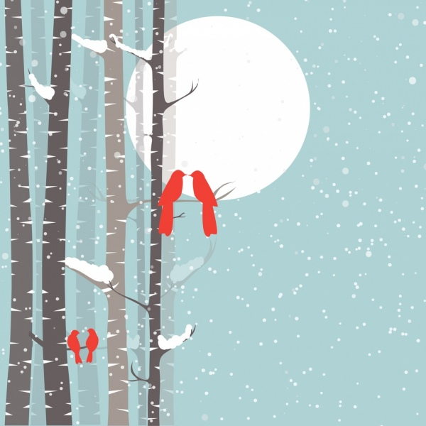 winter background red silhouette birds falling snow backdrop