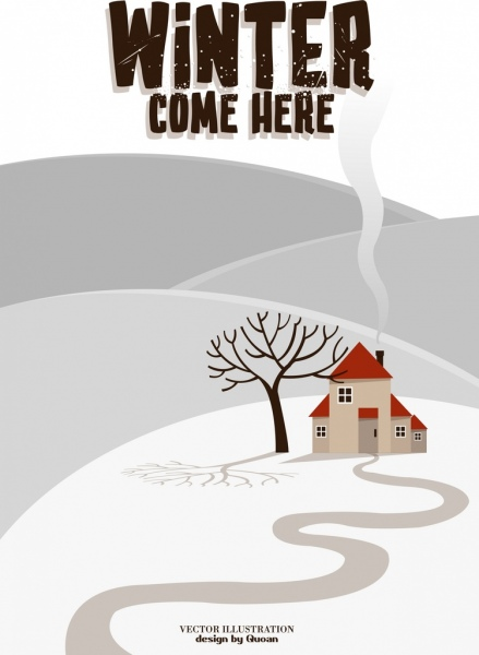winter background snow land leafless tree house icons