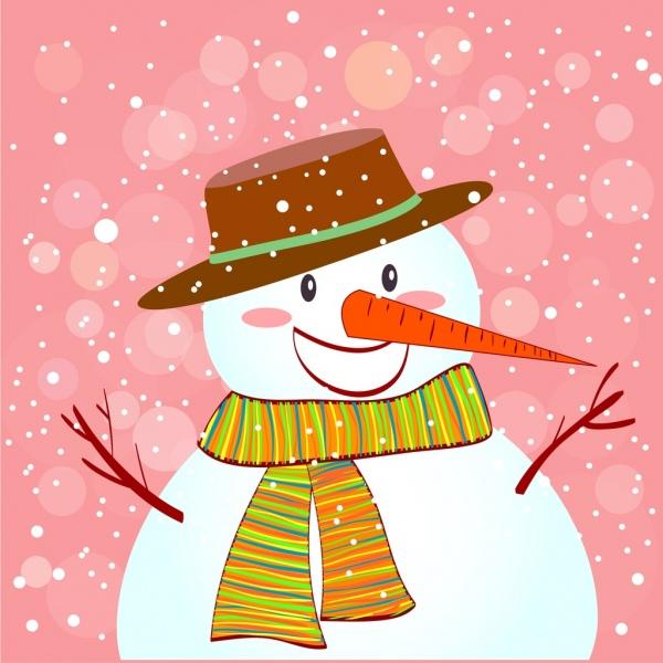 winter background snowman icon bokeh falling snow backdrop