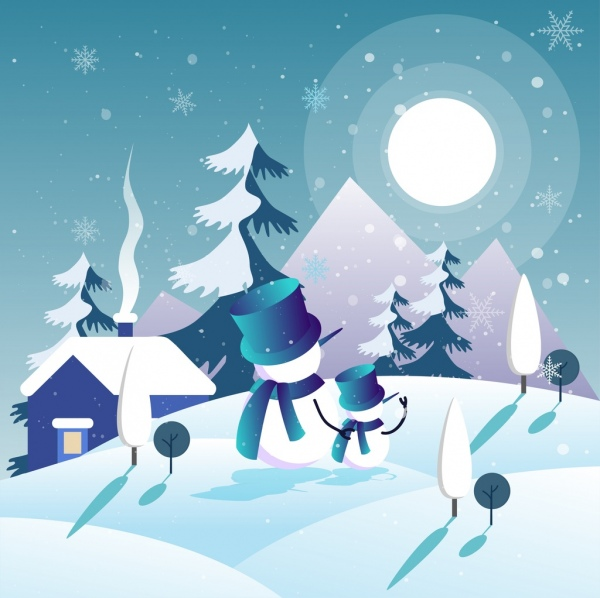 winter background snowman snowflakes moonlights icons decor