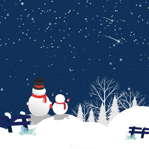 winter background sparkling night sky white snowman ornament