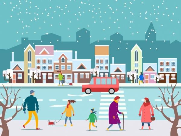 winter background street pedestrian snowfall icons cartoon design
