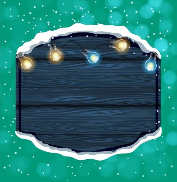 winter background wooden board sparkling lights decoration