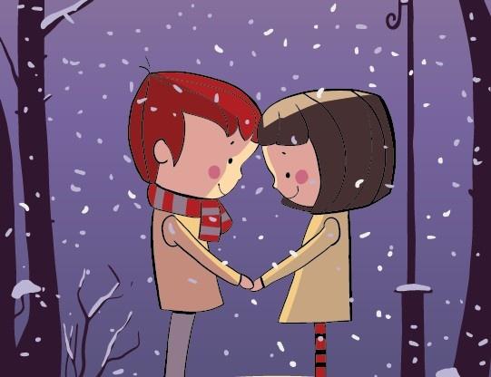 winter cartoon couple vector