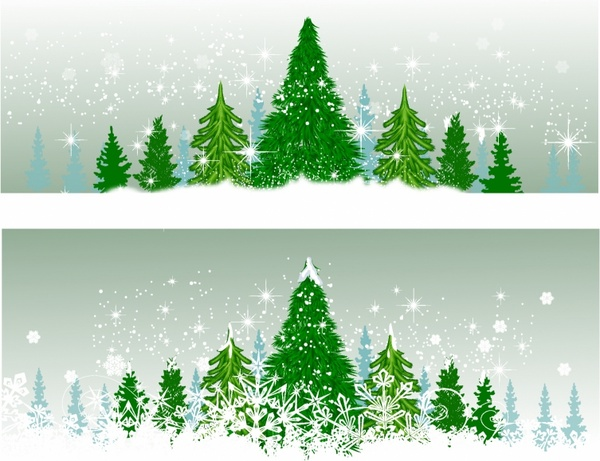 Winter Christmas trees
