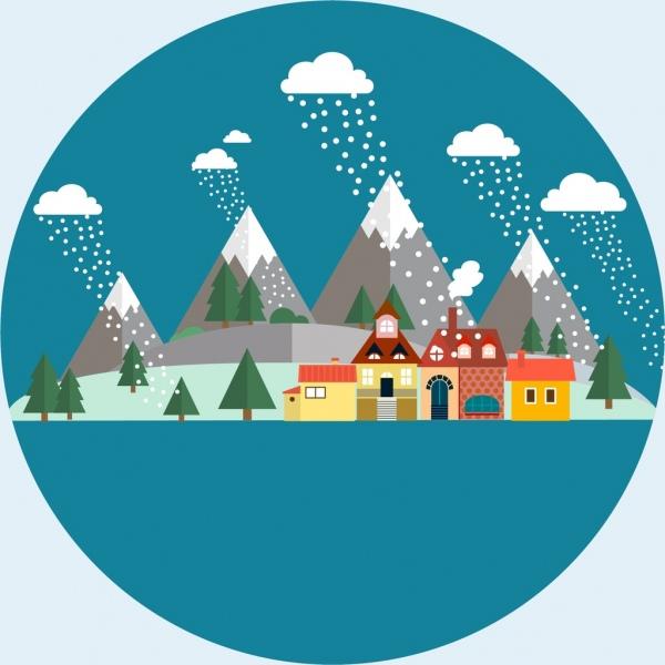 winter circle background design snow falling village decoration
