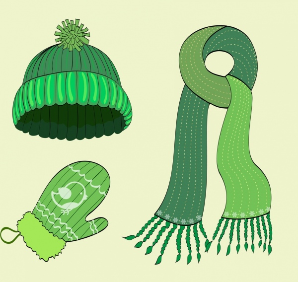 winter clothes design elements green woolen objects
