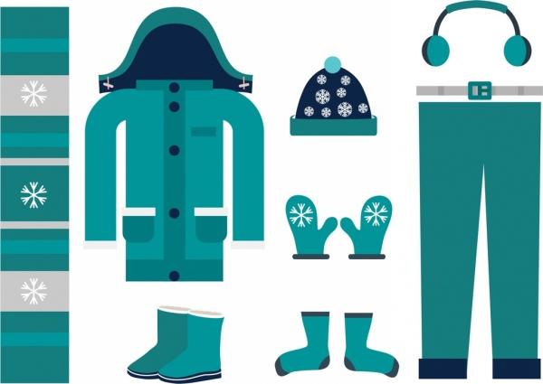 winter design element blue clothing icons