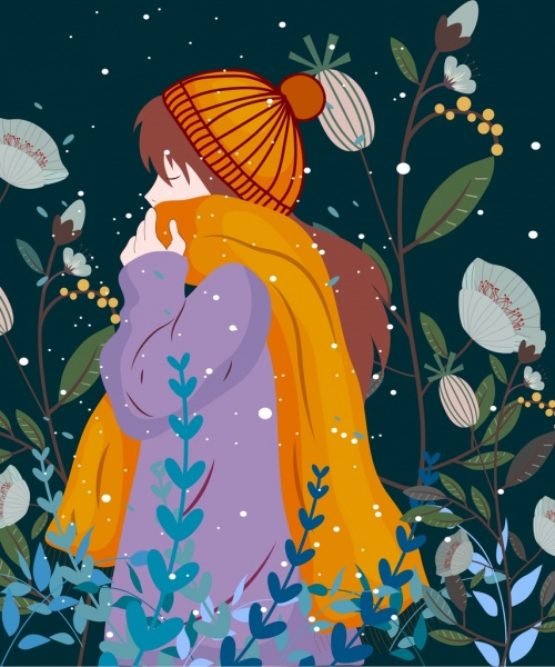 winter drawing girl in warm clothes colored cartoon