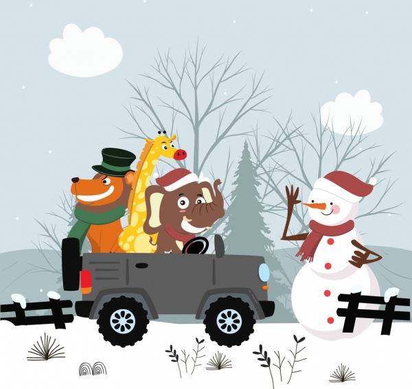 winter drawing snowman animals car icons stylized cartoon