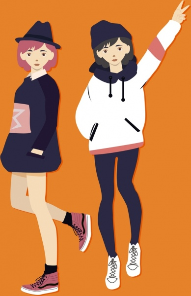 winter fashion advertising young girl icons colored cartoon