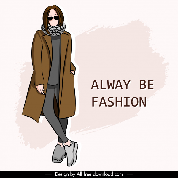 winter fashion poster cartoon character sketch