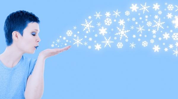 winter girl blowing snow snow