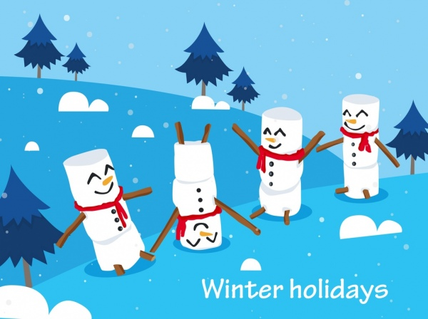 winter holidays background cute snowman icons decor free vector in