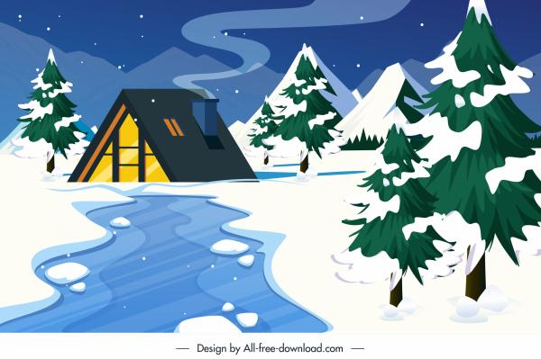 winter landscape background cottage snowy mountain scene
