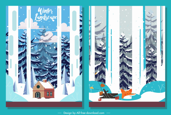 winter landscape backgrounds colorful classic snowfall fir trees