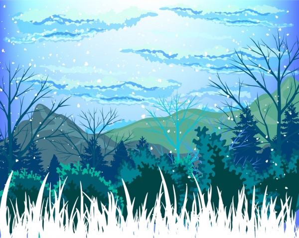 winter landscape drawing wild mountain decoration colorful design