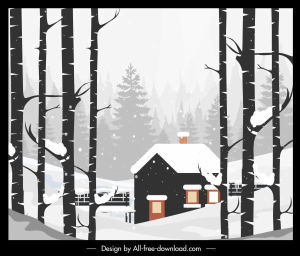 winter landscape painting colored retro decor cottage sketch