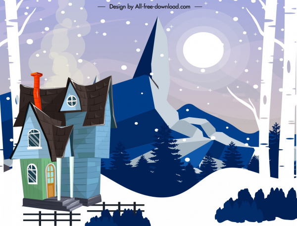 winter mountain scenery painting snowy house sketch