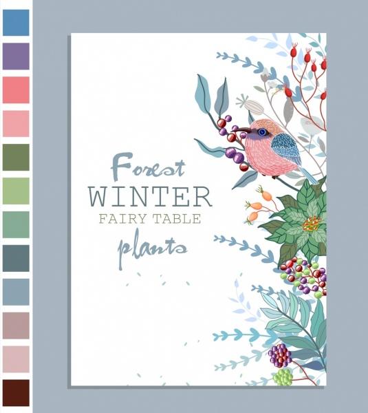 winter plants background leaf bird fruits icons decor