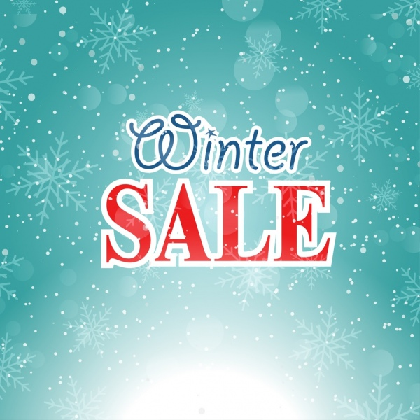 winter sale background bright dazzling bokeh snowflake icons