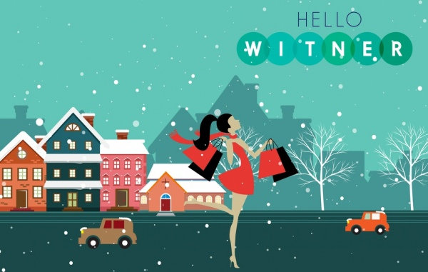 winter sale banner shopping lady icon town scape