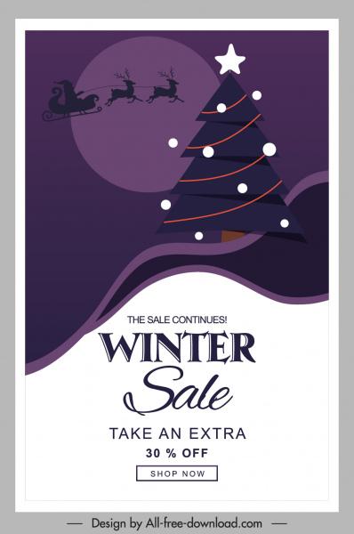 winter sale poster sleighing santa fir tree sketch