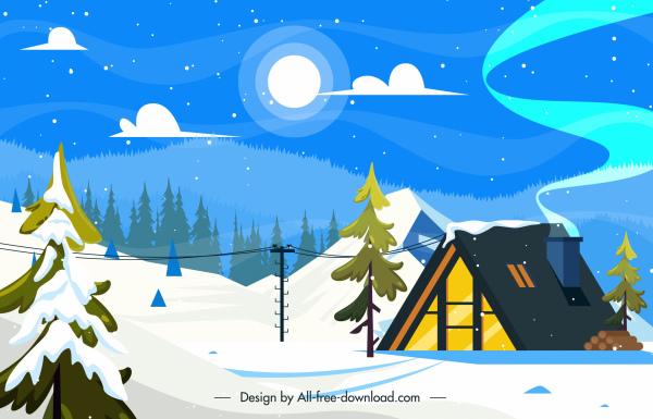 winter scene background cottage snowy sketch