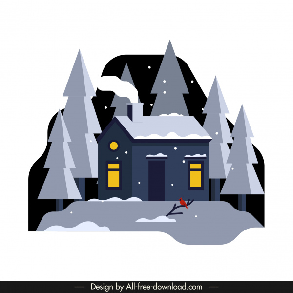winter scene background house snow tree sketch