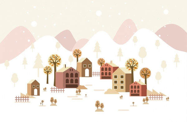 winter scene background houses tress white snow icons